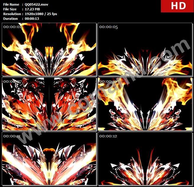 QQ05422炫光震撼大气火焰爆炸开场片头动态高清led大屏背景视频素材
