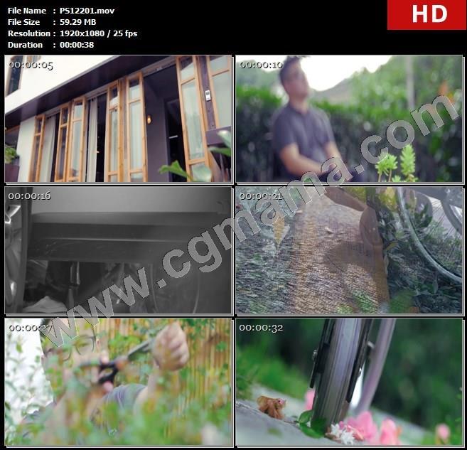 PS12201房屋仙人掌门窗人物忧伤轮椅修剪植物碾压高清实拍视频素材