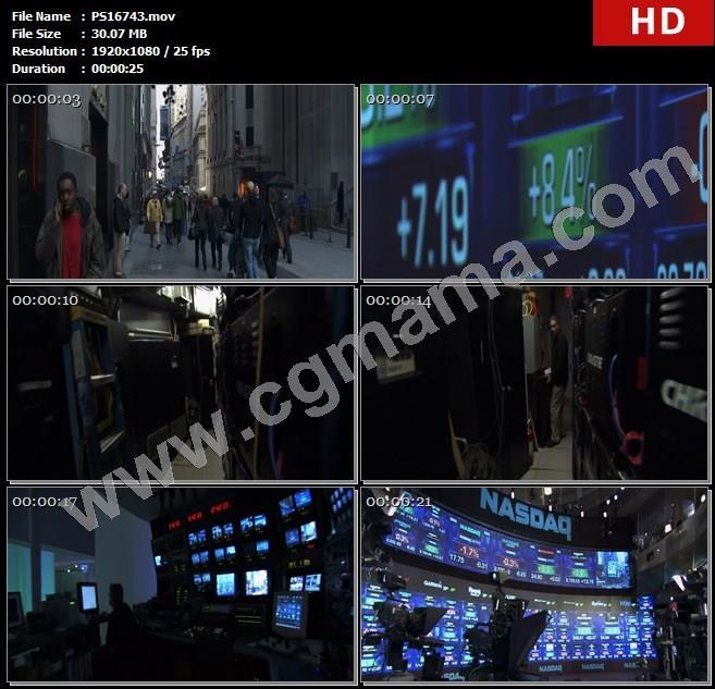 PS16743美国街道行人高楼大厦交易所数据设备计算机高清实拍视频素材