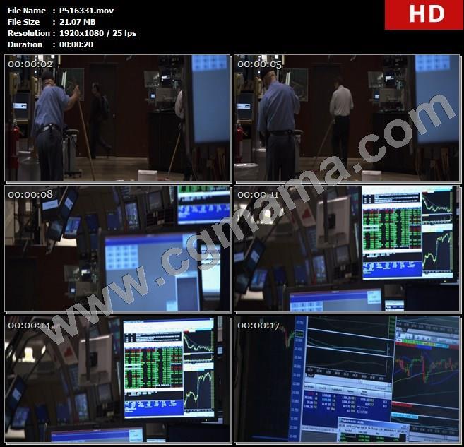 PS16331交易所垃圾打扫清洁人员计算机股票数据走势高清实拍视频素材
