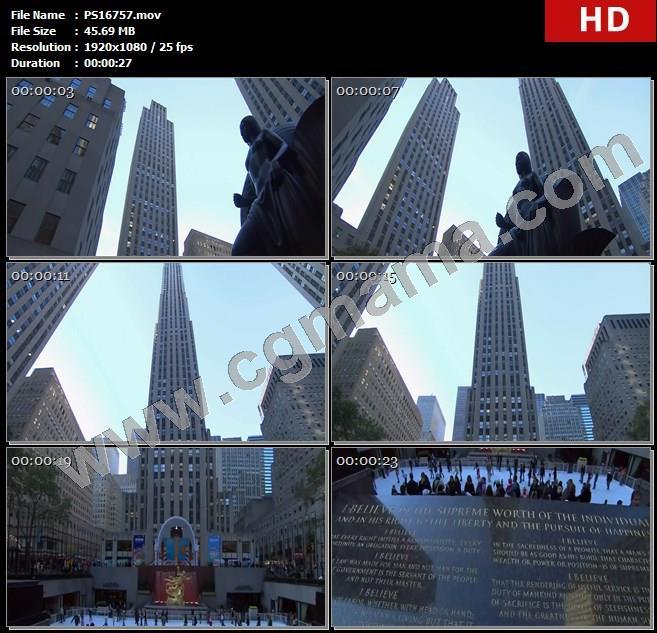 PS16757美国洛克菲勒中心大楼雕塑高楼大厦行人石碑文字高清实拍视频素材
