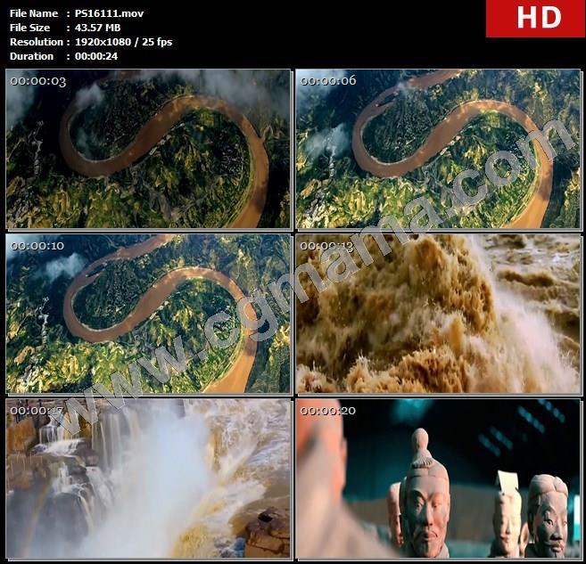 PS16111黄河山川河流云雾江河流水瀑布秦兵马俑中国文化高清实拍视频素材