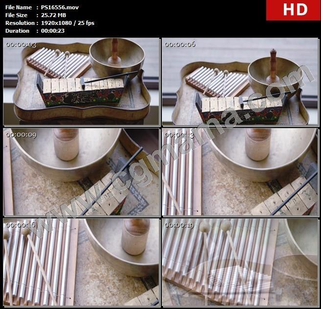 PS16556乐器音乐木槌铜管摆件装饰民宿度假屋高清实拍视频素材