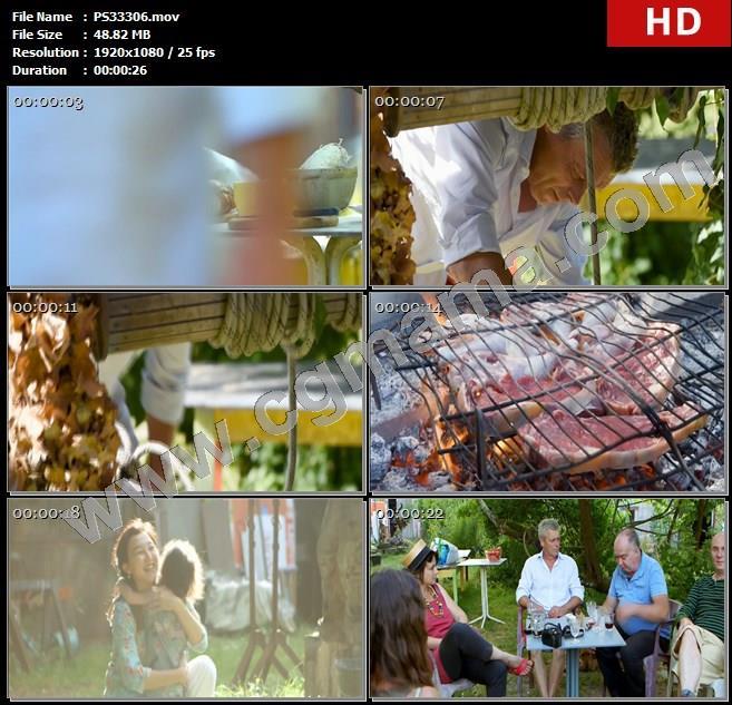 PS33306花朵蔬菜食物水井水桶烤肉炭火孩子家人聊天庭院高清实拍视频素材