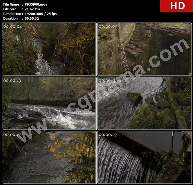 PS35900山峰河流溪流树木桥梁梯子储水池流水动力工业革命高清实拍视频素材