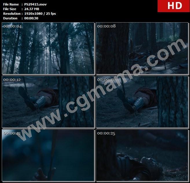 PS29415树林阳光树木尸体伤亡兵器战士盾牌古罗马高清实拍视频素材