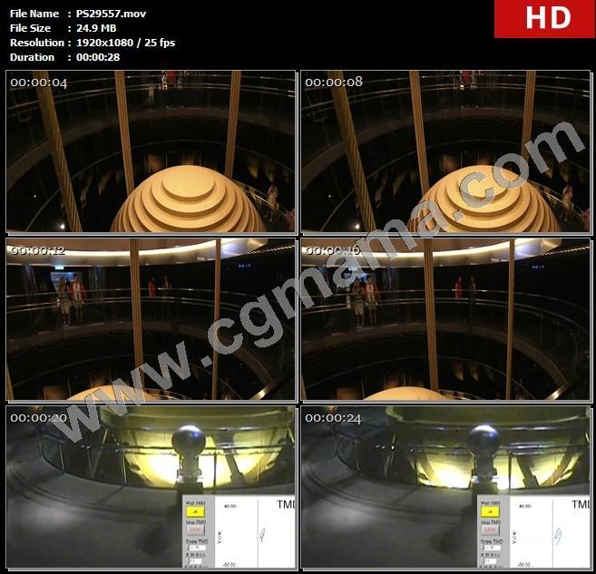 PS29557台湾大楼钢缆钢板风阻尼器游客建筑监控视频高清实拍视频素材