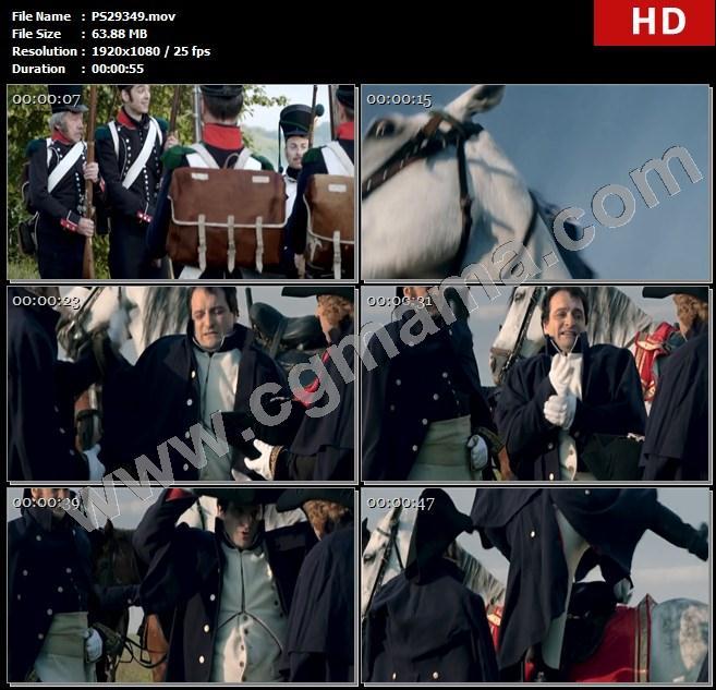 PS29349士兵军队尼曼河马匹帽子拿破仑摔跤上马离开俄法战争高清实拍视频素材