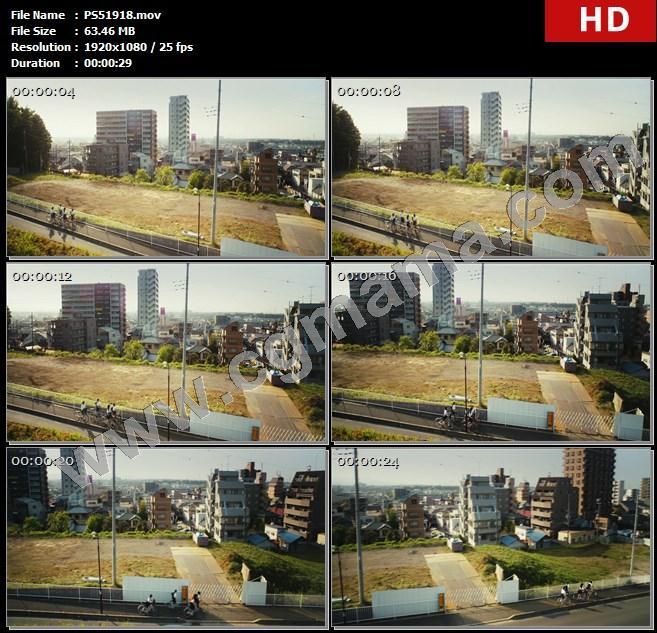 PS51918楼房建筑日本女学生自行车绿树同学车辆高清实拍视频素材