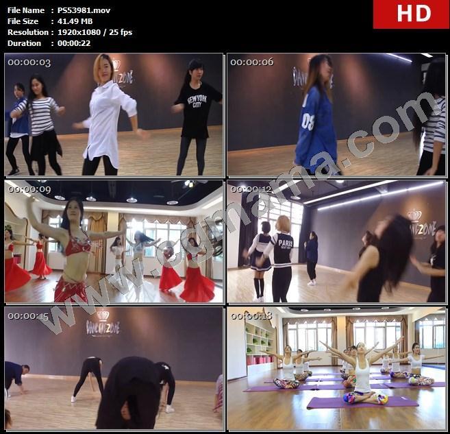 PS53981瑜伽运动保健跳舞舞蹈街舞学员老师舞蹈室瑜伽服高清实拍视频素材