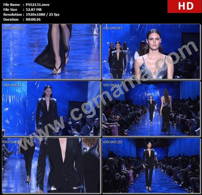 PS52131模特走秀长裙高跟鞋西装长裤观众春装时装秀高清实拍视频素材