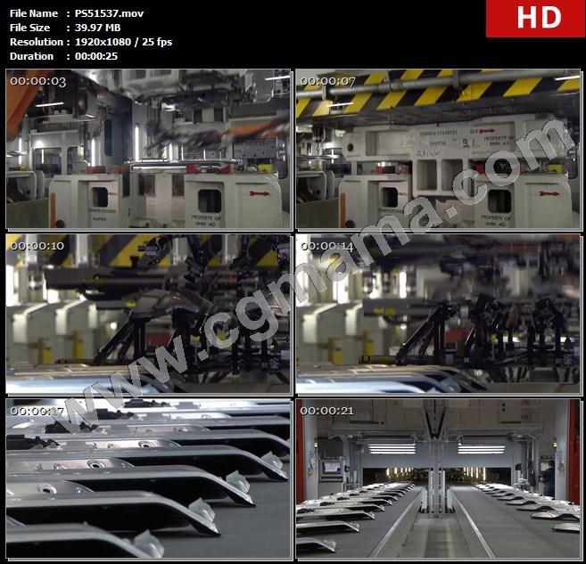 PS51537机械手机器设备车间生产线零件加工传送带高清实拍视频素材