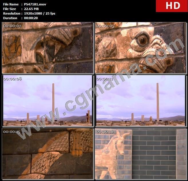 PS47181树木草木工程建筑波斯国都城帕萨尔加德遗迹图案高清实拍视频素材