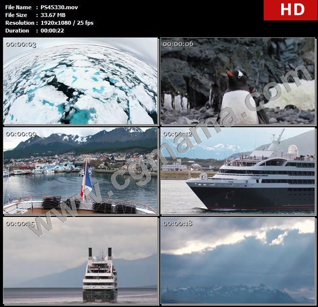 PS45330南极飞鸟地图轮船城市房屋地图天空云层海洋高清实拍视频素材