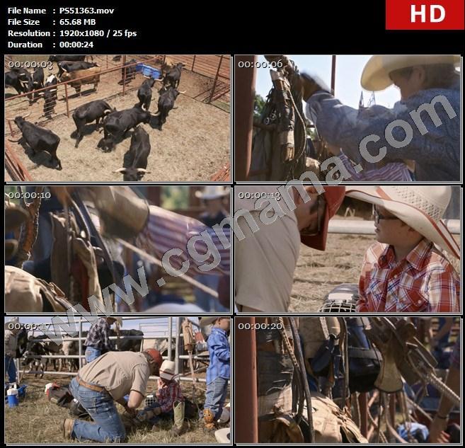 PS51363黑牛牛场铁栏学生孩子牛仔帽护具装备草地高清实拍视频素材