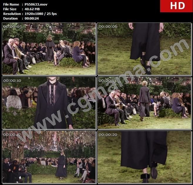 PS50633迪奥服饰走秀秀场草地观众春装模特树木面具高清实拍视频素材