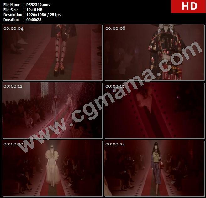 PS52342模特走秀秀场地毯古驰服饰包包珠宝配饰帽子眼镜高清实拍视频素材