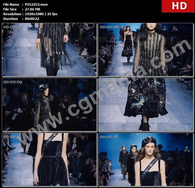 PS52253模特走秀女装时尚潮流迪奥服饰观众背包奢侈品高清实拍视频素材