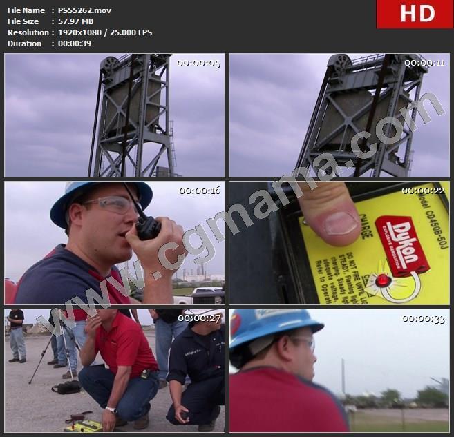 PS55262柯柏斯克里斯提拉线引爆线钢架引爆器外国人指挥对讲机高清实拍视频素材