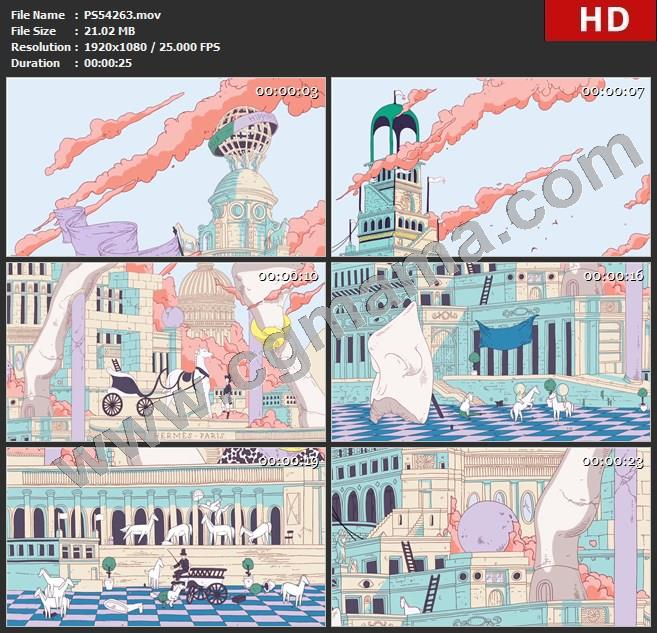PS54263城堡白马马车手掌梯子雕像动画漫画动物高清实拍视频素材