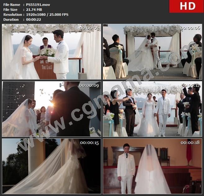 PS55191戒指花朵婚礼拥抱宾客花瓣鼓掌耶稣堂裙摆头纱高清实拍视频素材