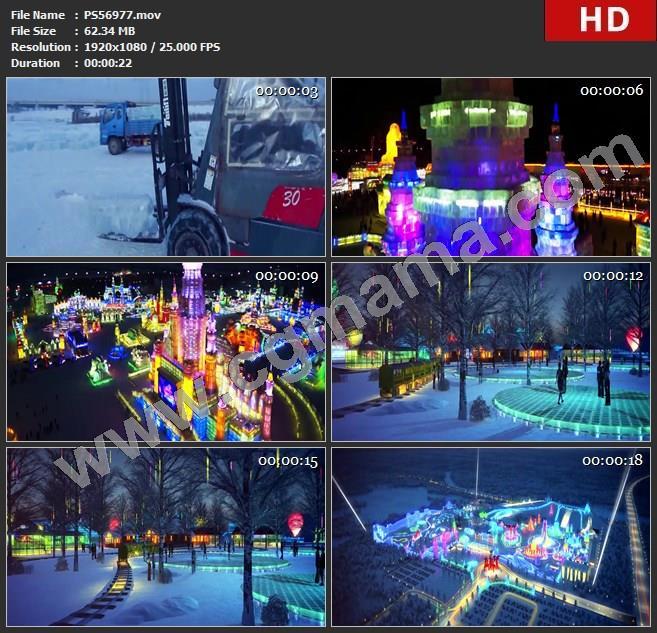 PS56977雪地积雪搬运冰块视觉盛宴夜景枯树冰雪大世界高清实拍视频素材