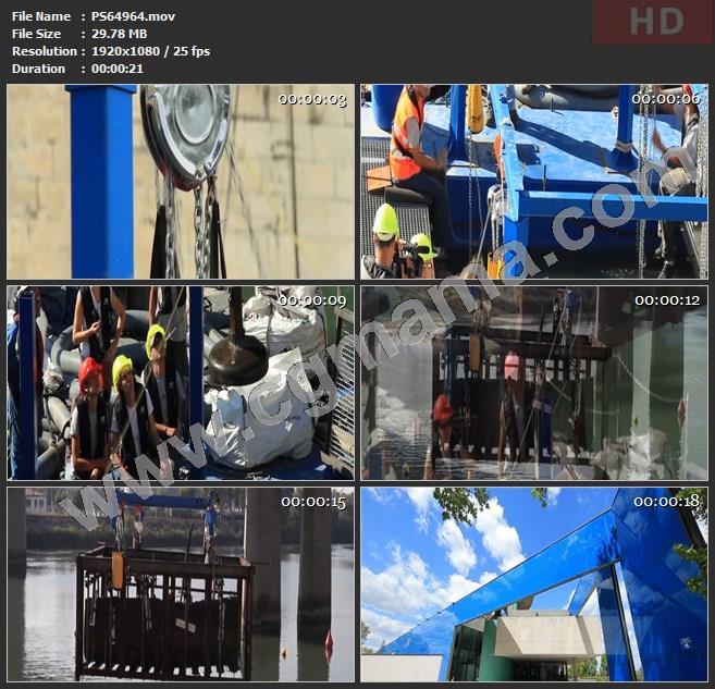 PS64964河流吊车工人工程机械设备阿尔勒博物馆高清实拍视频素材