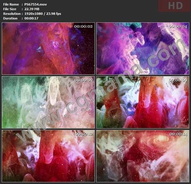 PS67554彩色炫彩粒子星云骏马舞蹈大屏幕led晚会高清视频素材