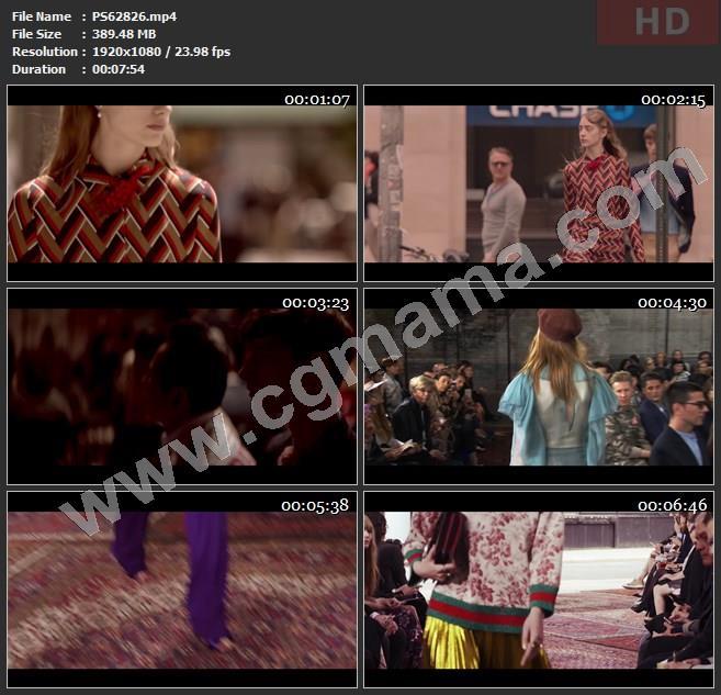 PS62826古驰街道青年时装模特走秀观众高清广告tvc视频素材