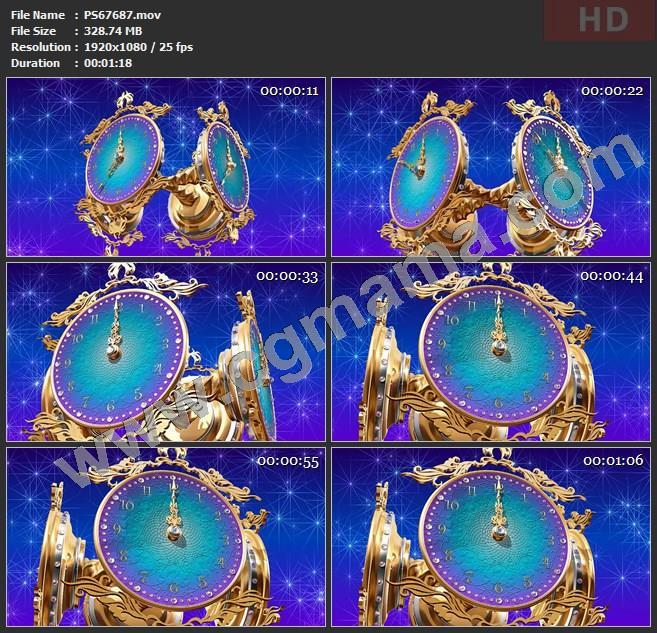 PS67687华丽时钟钟表指针转动12点报时动画舞蹈大屏幕led晚会高清视频素材