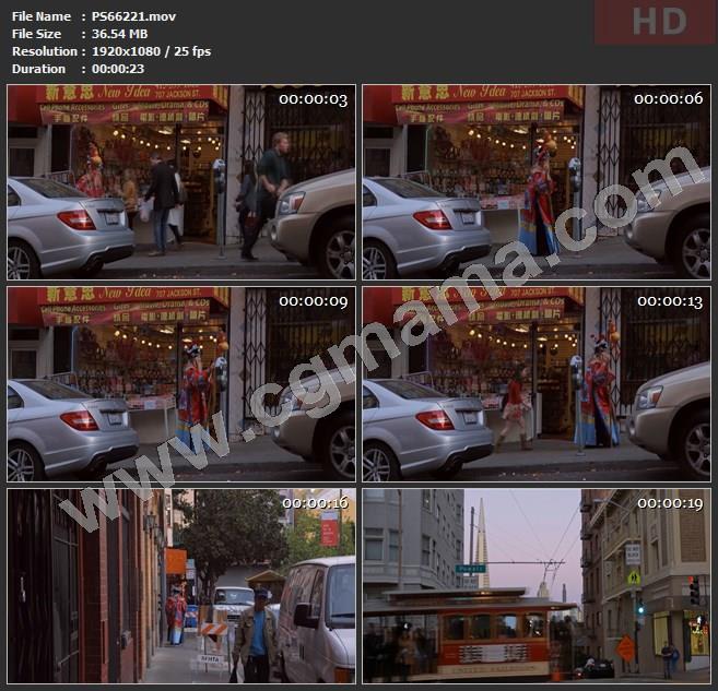 PS66221寿星汽车商店店铺葫芦拐杖公交车树木街道行人高清实拍视频素材