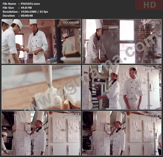 PS65691面粉甜点甜食奶油美食厨师面点电话通话纸张高清实拍视频素材