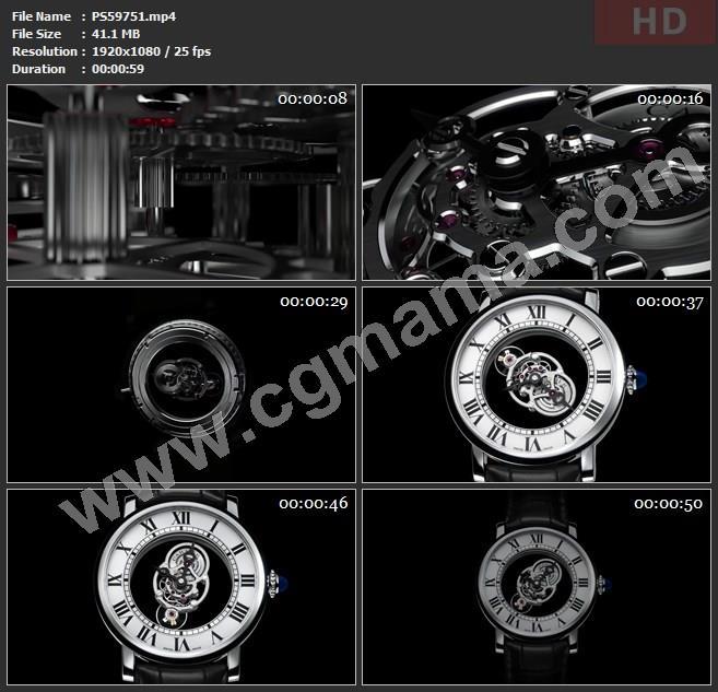 PS59751卡地亚手表齿轮表盘零件指针高清广告tvc视频素材