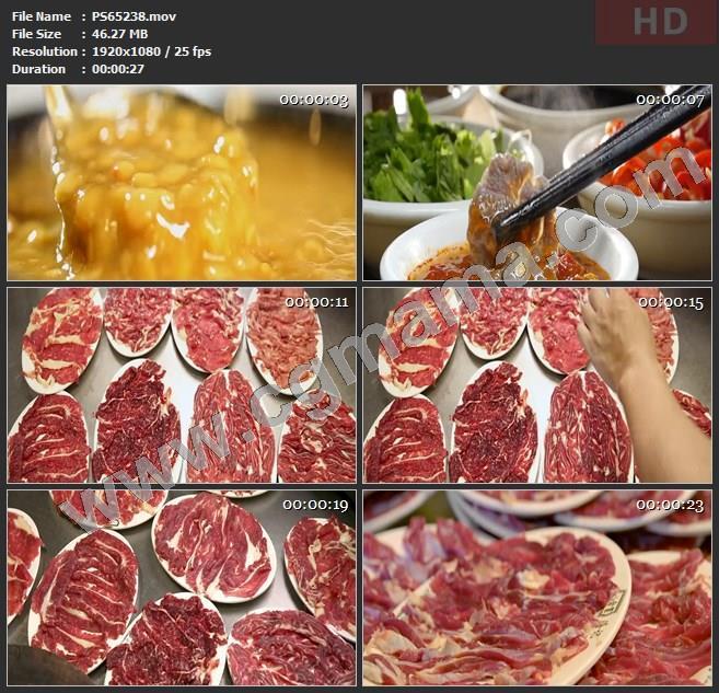 PS65238酱汁筷子肉块牛舌吊龙棒生肉三花趾脖仁匙饼高清实拍视频素材