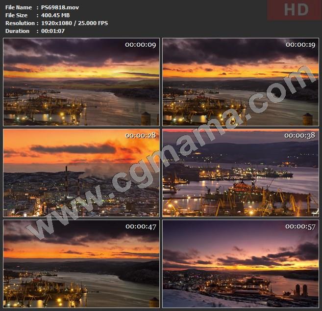 PS69818夜间延时摄影工业河道施工视频素材高清实拍视频素材