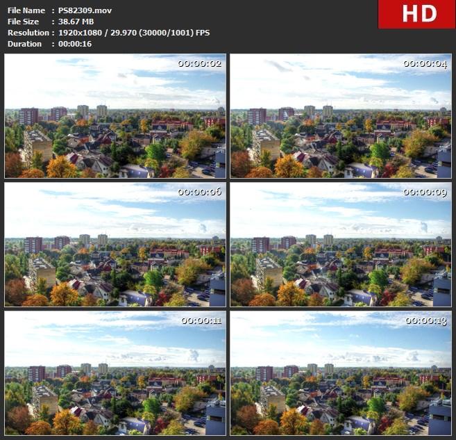 PS82309Hdr云人城市宾得数码单反相机早晨时光倒流景观秋天立陶宛考纳斯自然镇颜色高清实拍视频素材
