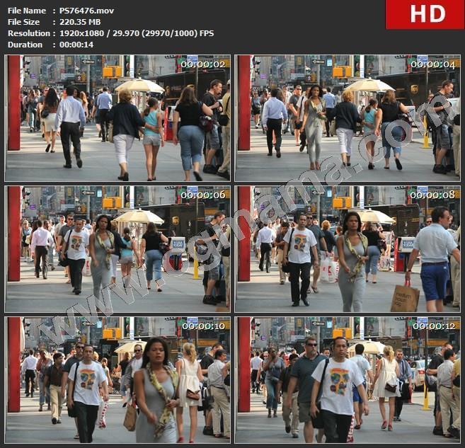 PS76476国外人们行走在街道上车流马路人群1高清视频素材
