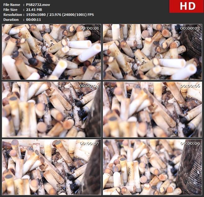 PS82732托盘污垢灰烟头烟草癌症肮脏的讨厌香烟高清实拍视频素材