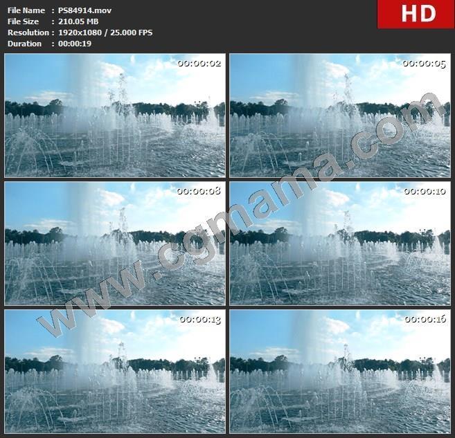 PS84914超级慢动作广角镜头的美丽公园喷泉,240秒高清实拍视频素材