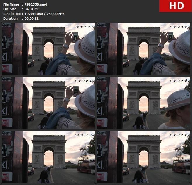 PS82550交通假日假期傍晚凯旋门印第安那地标城市夜大街巴黎弧拱拱门摄影文化旅游旅行者日落智能手机暑假暑期法国照片纪念品纪念碑资本香榭丽舍大道黄昏高清实拍视频素材