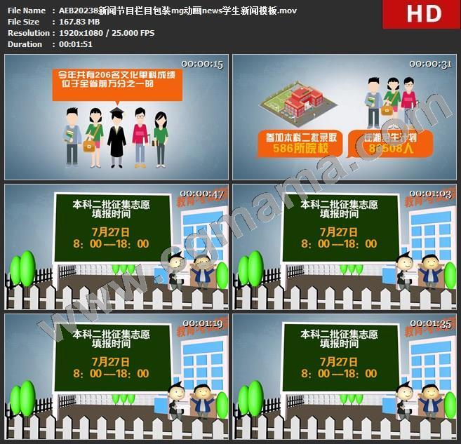 AEB20238新闻节目栏目包装mg动画news学生新闻模板