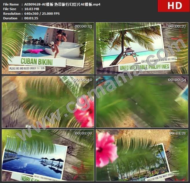 AEB09628-AE模板 热带旅行幻灯片AE模板