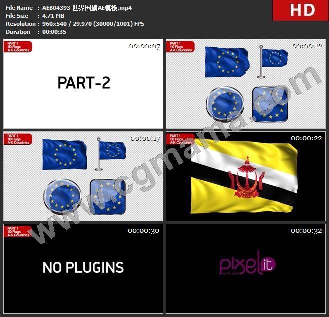 AEB04393 世界国旗AE模板