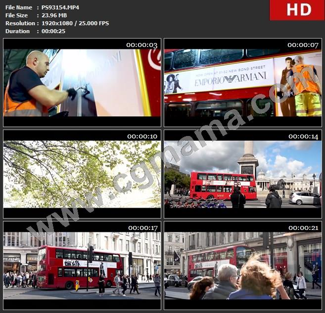 PS93154Giorgio Armani 阿玛尼广告 EALiveInLondon - Double decker buses wrapped in Emporio Armanicgmama高清欧美广告tvc视频素材