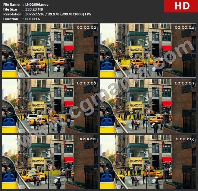 LH02606fleet-of-taxis-in-new-york-city-intersection_纽约市城市交叉口出租车车队高清实拍视频素材