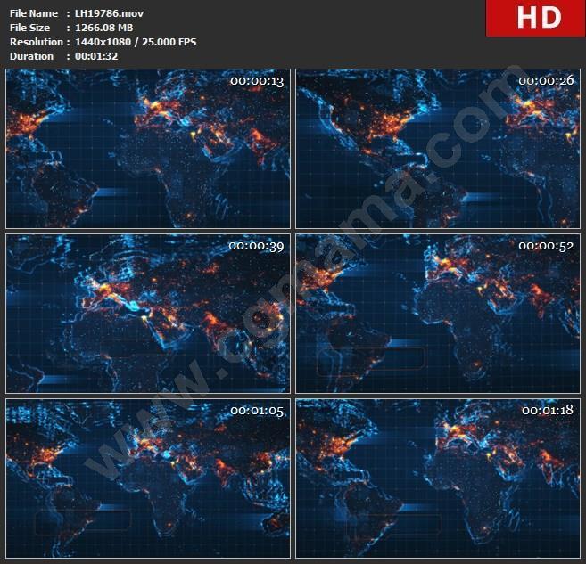 LH19786LED大屏LED大屏地球地图空间粒子动画素材背景视频高清视频素材