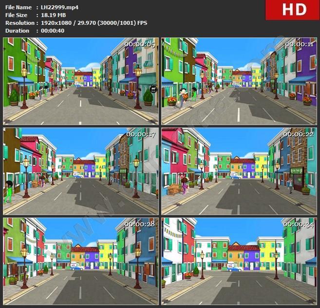 LH22999LED大屏LED大屏唯美大气三维卡通城市展示建筑晚会背景素材高清视频素材