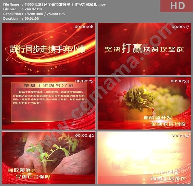 MB03412红色主题精准扶贫工作报告AE模板