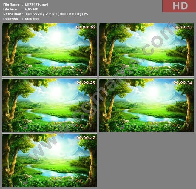 ALH77478春天树叶内容循环大屏绿叶展示影视模板